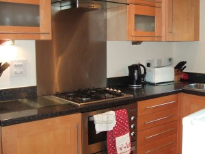 Fully fitted kitchen with fridge freezer and dishwasher.